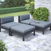 CorLiving™ Oakland 4-Piece Lounger Patio Set, Dove Gray/Black