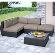 CorLiving™ Seattle Curved 5-Piece Sectional With Chaise Lounge Patio Set, Sultry Gray/Black
