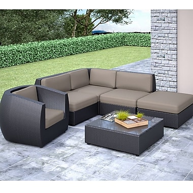 CorLiving™ Seattle Curved 6-Piece Sectional W/Chaise Lounge and Chair Patio Set, Sultry Gray/Black
