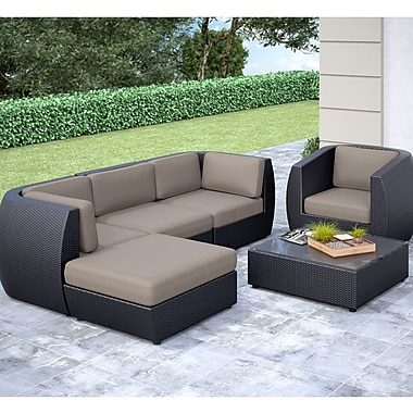 CorLiving™ Seattle Curved 6-Piece Sofa With Chaise Lounge and Chair Patio Set, Sultry Gray/Black