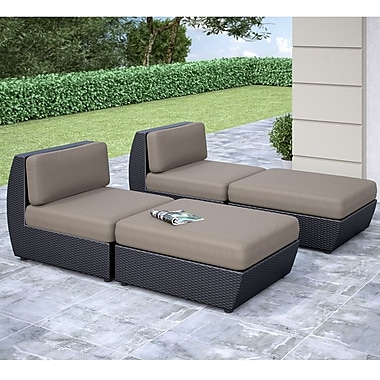 CorLiving™ Seattle Curved 4-Piece Lounger Patio Set, Sultry Gray/Black