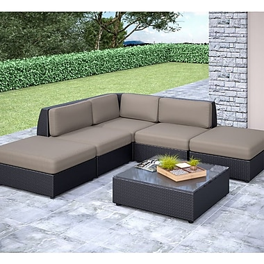 CorLiving™ Seattle Curved 6-Piece Chaise Lounge Sectional Patio Set, Sultry Gray/Black