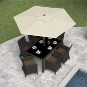 CorLiving™ Tilting 2.5m Round Patio Umbrella, Warm White Polyester