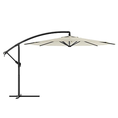 CorLiving™ Tilting 3m Offset Patio Umbrella, Warm White Polyester