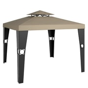 CorLiving™ Riverside Polyester Patio Gazebo, Beige/Textured Black