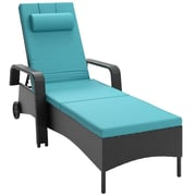 CorLiving™ Riverside Polyester Patio Reclining Lounger, Sky Blue