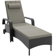 CorLiving™ Riverside Polyester Patio Reclining Lounger, Mid Gray