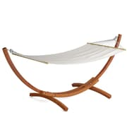CorLiving™ Wood Canyon Cotton/Solid Larch Wood Patio Hammock, White/Cinnamon Brown