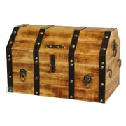 Quickway Imports Large Wooden Pirate Lockable Trunk with Lion Rings