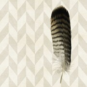 Marmont HIll Striped Feather Painting Print on Wrapped Canvas; 32'' H x 32'' W