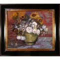 Tori Home Sunflowers, Roses and Other Flowers Van Gogh Framed Original Painting