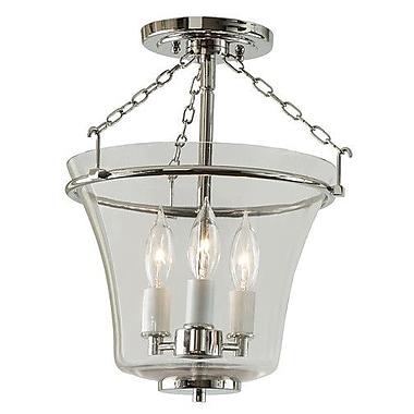 JVI Designs Greenwich 3-Light Semi Flush Mount; Polished Nickel