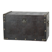 Quickway Imports Decorative Leather Wooden Trunk