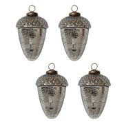 White x White Mercury Glass Acorn Ornament (Set of 4)