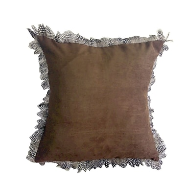 Masion Vue Alexander Les Plumes Feather Trim Throw Pillow; Brown