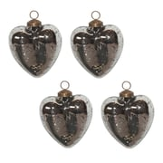 White x White Mercury Glass Heart Ornament (Set of 4)
