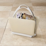 Global Views Stirrup Magazine Dump; Beige Leather