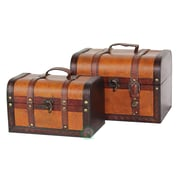Quickway Imports Decorative 2 Piece Leather Treasure Box Set