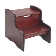 Gift Mark 2-Step Solid Wood Step Stool; Cherry