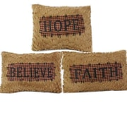 Craft Outlet 3 Piece Faith-Hope-Believe Chenille Throw Pillow Set