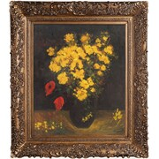 Tori Home Vase with Viscaria (Poppy Flowers) Van Gogh Framed Original Painting