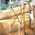 Global Views Directoire End Table; Brass & White Marble