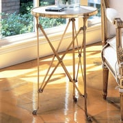 Global Views Draw Attention End Table; Brass & White Marble
