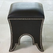 Global Views Leather Ottoman; Black Leather