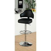Hokku Designs Ruperte Adjustable Height Swivel Bar Stool with Cushion; Black
