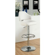 Hokku Designs Ruperte Adjustable Height Swivel Bar Stool with Cushion; White