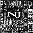 Epic Art New Jersey Square Textual Art on Canvas in Black and White