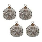 White x White Mercury Glass Deco Ball Ornament (Set of 4)