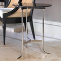 Global Views Plie End Table; Polished Nickel / Black Granite
