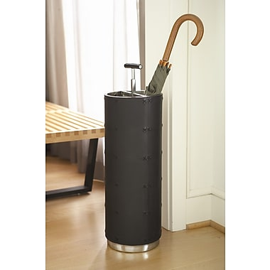 Global Views Umbrella Stand; Black Leather