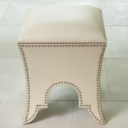 Global Views Leather Ottoman; Beige Leather