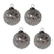 White x White Mercury Glass Hobnail Ornament (Set of 4)