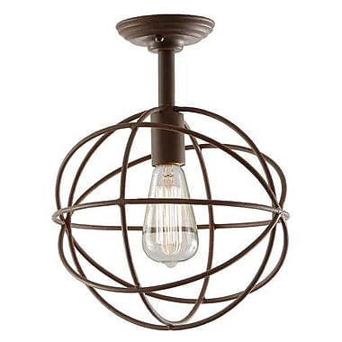 JVI Designs Globe 1-Light Semi Flush Mount; Rust