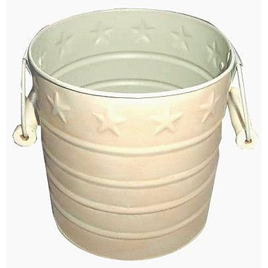 Craft Outlet Star Tin Pail w/ Wooden Handle; Creme White
