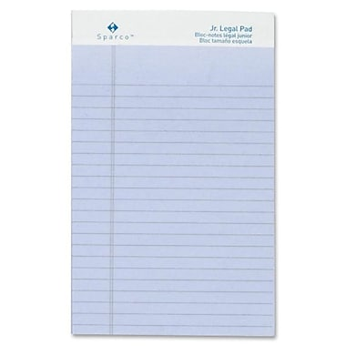 Sparco Coloured Junior Ruled Legal Size Writing Pads, 5