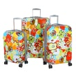 Olympia Polycarbonate Blossom Hard Case Travel Set, 21in. 3 Piece Set, Aqua Blue