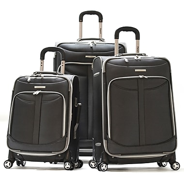 Olympia Polyester Tuscany 3-Piece Luggage Set Black
