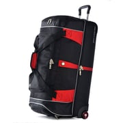 Olympia Polyester Drop Bottom Rolling Duffel 30, Black/Red