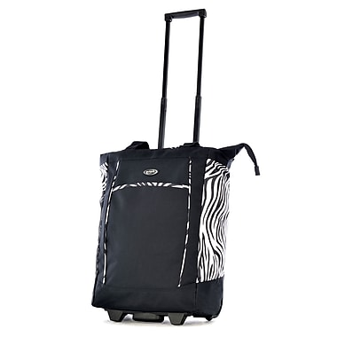 Olympia Polyester Fashion Rolling Shopper Tote, Zebra