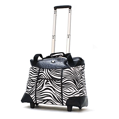 Olympia Deluxe Fashion Rolling Tote, 18.5in. Zebra