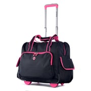 Olympia Polyester Deluxe Fashion Rolling Overnighter One Size, Black/Pink