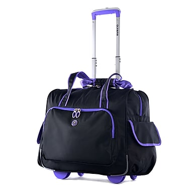 Olympia Polyester Deluxe Fashion Rolling Overnighter One Size, Black/Purple