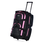 Olympia Polyester Luggage Sports Plus 8 Pocket Rolling Duffel Bag 22, Black/Pink
