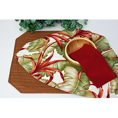 Pacific Table Linens Outdoor Table Linen Reversible Wedge Placemat (Set of 2); Botanica Sand Cafe