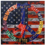 Oriental Furniture American Flag Peace Graphic Art on Canvas