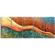 My Art Outlet Satin Riverlet Through O's 5 Piece Original Painting Plaque Set